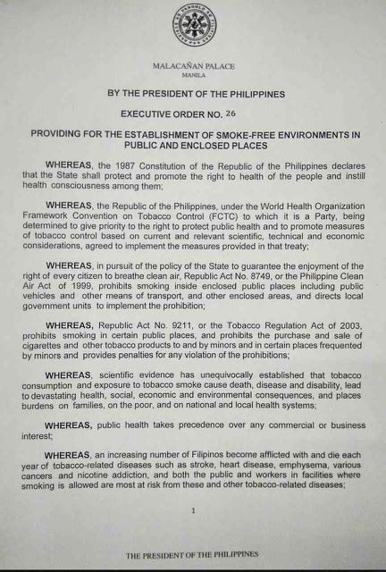 Duterte signs executive order on nationwide smoking ban   ABS-CBN News