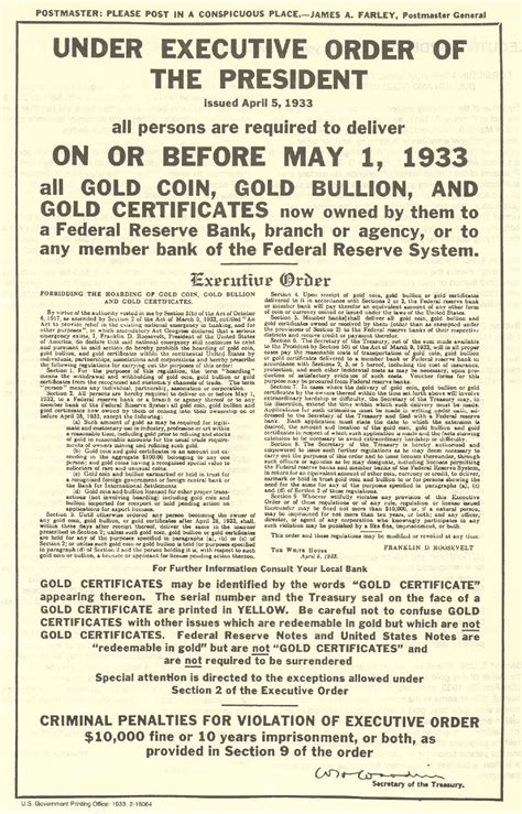 Scientific Dictatorship: April 5, 1933 - FDR Signs EO 6102 for Gold Confiscation